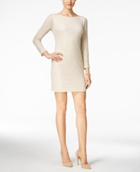 Jessica Howard Petite Metallic Lace Shift Dress Natural Silver