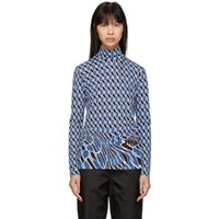 Prada Blue Argyle Turtleneck