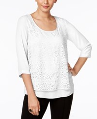 Ny Collection Eyelet Overlay Top White