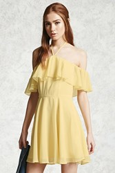 Forever 21 Chiffon Halter Neck Dress Yellow