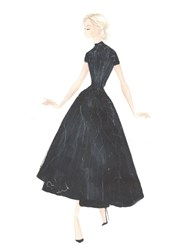 Paolo Sebastian Cap Sleeve High Low Cocktail Dress Custom Black