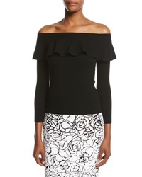 Michael Kors Ruffled Off The Shoulder Sweater Black
