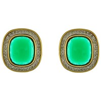 Eclectica Vintage 80S Gold Plated Swarovski Crystal Clip On Earrings Gold Green