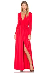 Halston V Neck Wrap Tie Gown Red