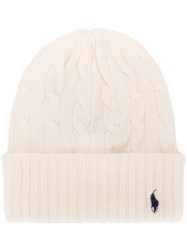 Polo Ralph Lauren Cable Knit Beanie White