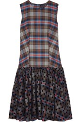 Paskal Plaid Cotton Blend And Polka Dot Flocked Tulle Dress Gray