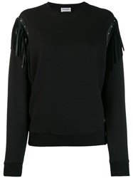 Saint Laurent Leather Fringing Cotton Sweatshirt Black