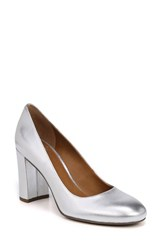 Franco Sarto By Aziza Block Heel Pump Silver Leather