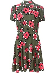 Red Valentino Flower Print Shirt Dress Green