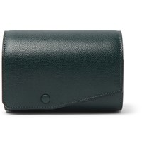 Valextra Pebble Grain Leather Watch Roll Green