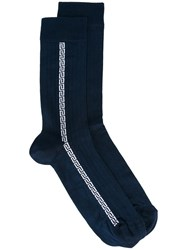 Versace Greek Key Ribbed Socks Blue