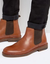Asos Chelsea Boots In Tan Leather With Natural Sole Tan