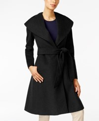 Jones New York Asymmetrical Shawl Collar Coat Black