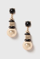 Topshop Cube And Ball Drop Earrings Black