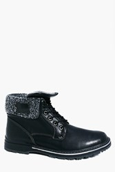 Boohoo Lined Fold Down Boots Black