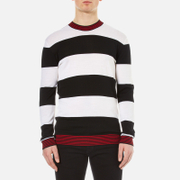 Mcq By Alexander Mcqueen Men's Stripe Contrast Crew Neck Jumper Darkest Black White Multi