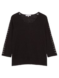 Gerard Darel Terry Lace Detail Linen T Shirt Black