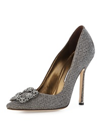 Manolo Blahnik Hangisi Metallic Crystal Toe Pump Platinum
