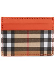 Burberry Vintage Check And Leather Card Case Yellow And Orange