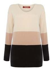 Max Mara Teoria Cashmere Colour Block Jumper Powder Pink