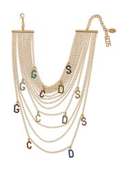 Gcds Crystal Letters Layered Necklace Gold