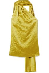 Brandon Maxwell One Shoulder Hammered Silk Satin Blouse Chartreuse