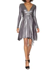 Halston Long Sleeve Metallic Jersey Draped Dress Gunmetal