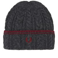 Fred Perry Tipped Cable Beanie Grey