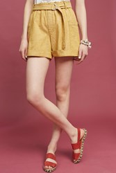 Anthropologie Marnie Belted Shorts Yellow