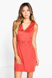 Boohoo Boutique Eyelet A Line Shift Dress Rust