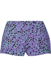 Just Cavalli Printed Cady Shorts Purple