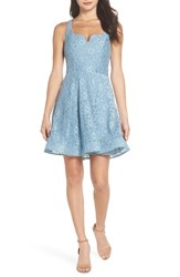 Sequin Hearts Notch Front Lace Fit And Flare Dress Blue
