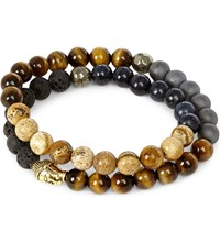 Nialaya 18Ct Gold Plated Sterling Silver Hematite Lava Stone Jasper And Coral Blue Bracelet Multi