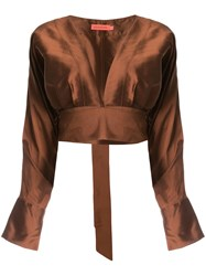 Manning Cartell Plunge Neck Cropped Blouse Brown