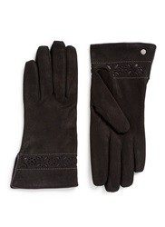 Georges Morand Tribal Flower Cutout Suede Gloves Black