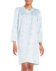 Miss Elaine Lace Trimmed Floral Sateen Nightgown Aqua Mint