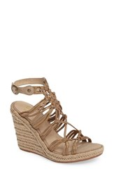 Johnston And Murphy Women's Mindy Woven Wedge Sandal Gold Metallic Suede