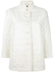 Ermanno Scervino Lace Detailing Quilted Jacket White
