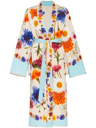 Natasha Zinko Floral Print Quilted Silk Maxi Robe Nude And Neutrals