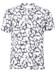 Neil Barrett Graphic Leopard All Over Print T Shirt Blue