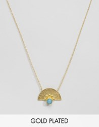 Ottoman Hands Blue Agate Fan Necklace Gold