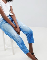 Replay Cropped Rigid Straight Jean With Raw Vintage Wash Blue