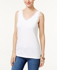 Karen Scott Petite Scalloped Lace Cotton Tank Only At Macy's Bright White