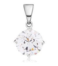 Carat 1Ct Round Cut Pendant Female Silver