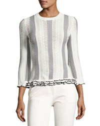 Derek Lam 3 4 Sleeve Striped Eyelet Sweater White Black White Black