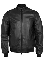 Armani Jeans Black Leather Bomber Jacket
