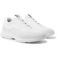 Z Zegna Suede Trimmed Leather And Techmerino Slip On Sneakers White
