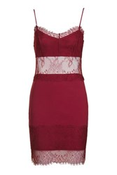 Topshop Lace Slip Tunic Dress Berry Red
