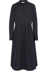 Vince Cotton Poplin Shirt Dress Midnight Blue
