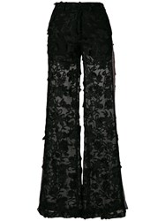 Ainea Embroidered Flared Trousers Black